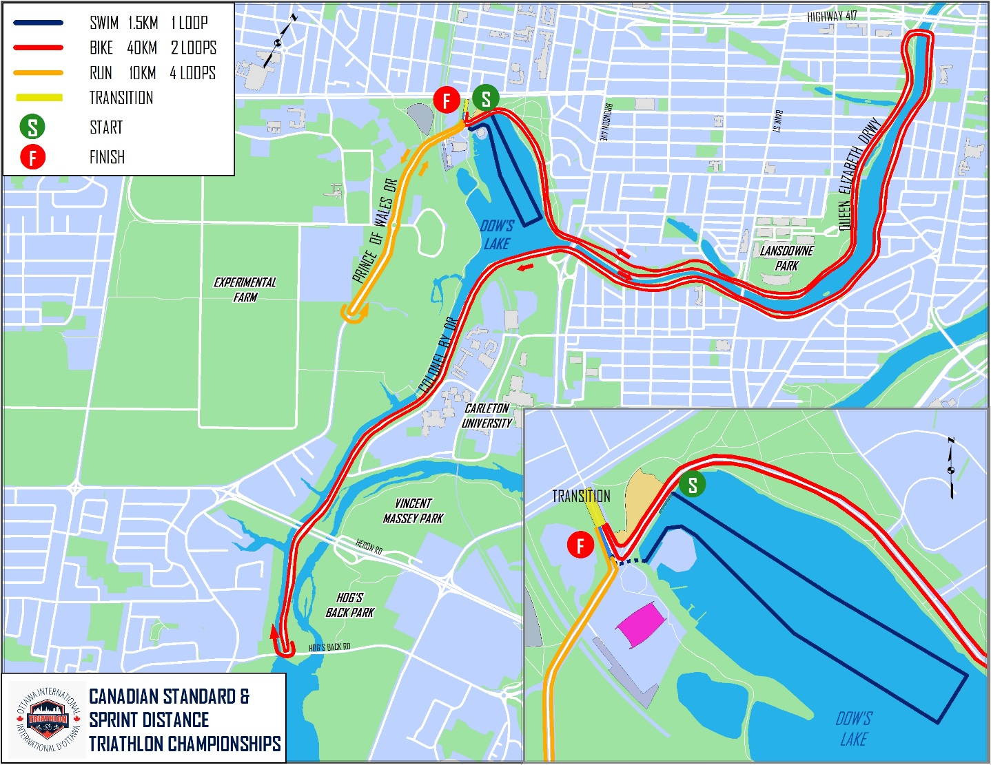 Canadian Standard Distance Triathlon Championships Course Map